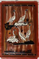Magpie Geese Are Nesting On The Floodplain (depicts a bark painting)